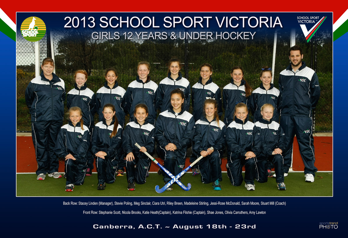 SSV Team Vic Hockey Girls 12 years and under State Team Photo 2013